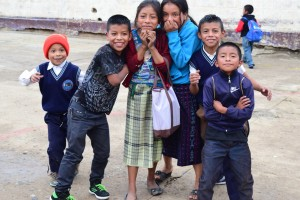 Smiling group of schoolchildren in Casa Blanca, Guatemala