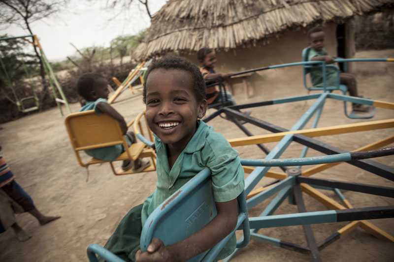 Ahmed (4) plays at an ECD center in Fantale, Ethiopia