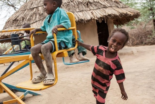 Kids play in a Playground at a ChildFund ECD Centre in Fantale, Ethiopa