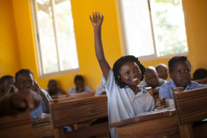 Neema (11) learns in an improved school built by ChildFund in Zavala District