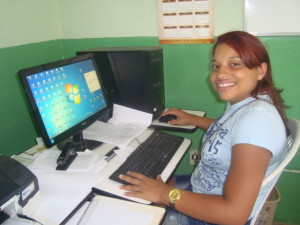 Young women from Brazil and Kenya in letter-writing story. Natacia of Brazil.