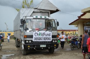 ChildFund vehicles delivering aid to the affected areas in the Visayas.