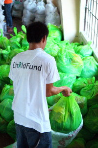 ChildFund's Food Item packs are assembled at this parish in Cebu City. These goods will go to communities in Leyte that were affected by typhoon Haiyan.