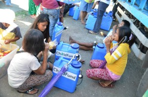 These cans with filters were received by families without access to potable water, after typhoon Haiyan