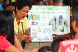 ChildFund is working with communities to combat malnutrition in super typhoon haiyan's wake. In this community, we have vegetable gardens and training activities for pregnant women, and new mothers.