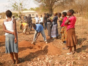 Youth clear a field for banana plants.