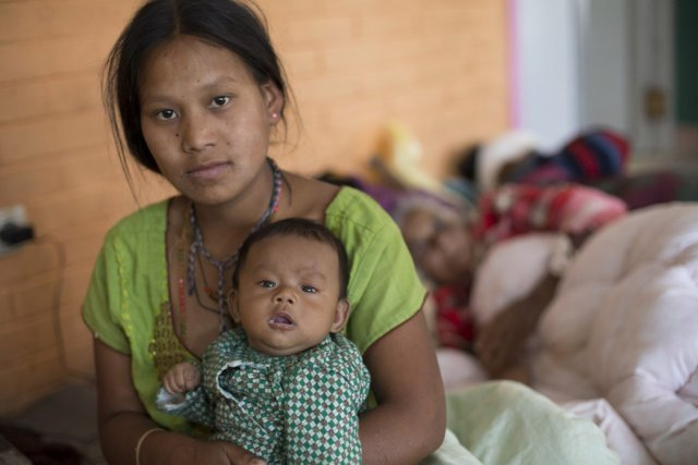 Nepal Earthquake:  Mother & Baby in Pathal khet, Kavrepalanchok District