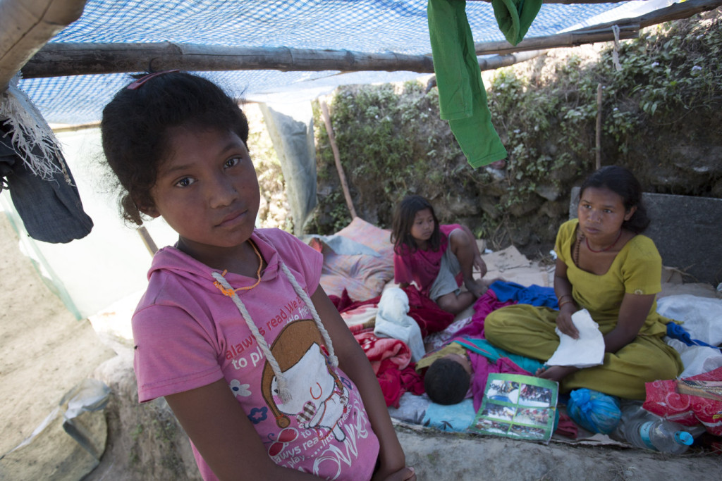 11-year-old Sanju and her family have been left homeless by Nepal's 25 April earthquake [Credit: Jake Lyell/ChildFund]