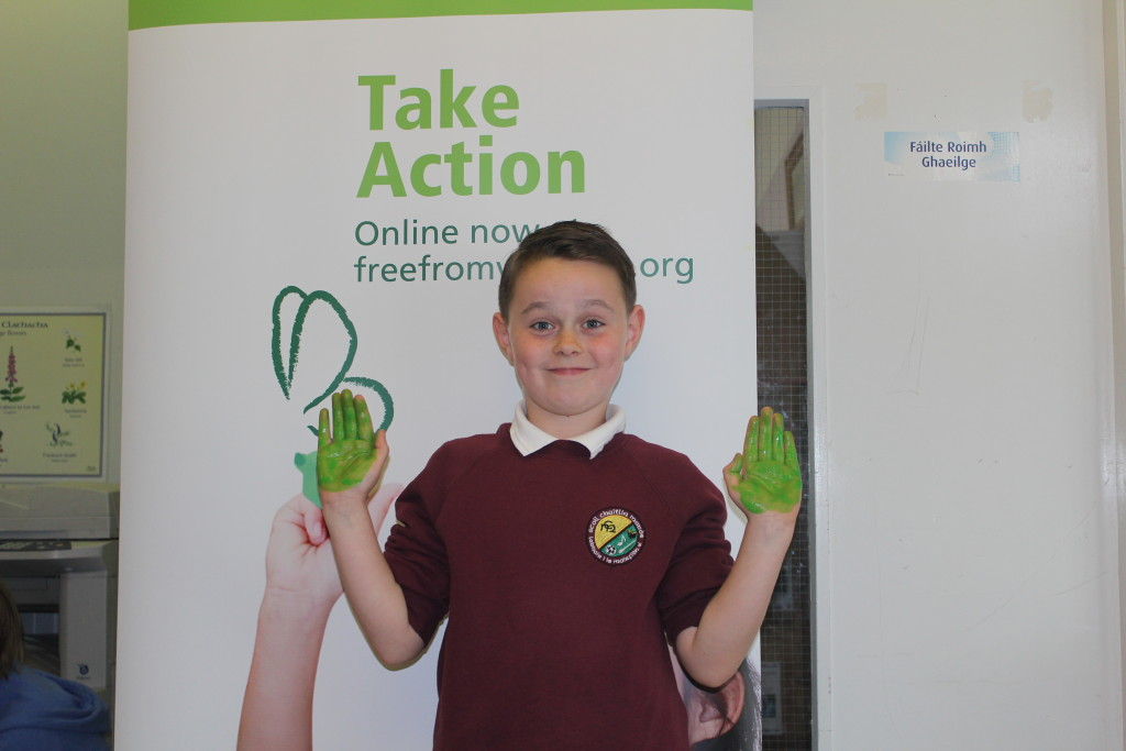 Eoin let's his hands do the talking at Scoil Caitlin Maude