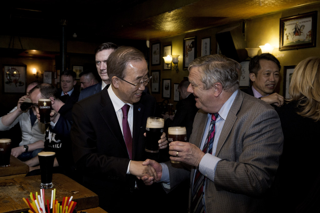 UN Secretary General Ban Ki-moon Enjoys a Post-Address Tipple with  C.F. IRL CEO Michael Kiely - Photo Credit:  Evan Schneider
