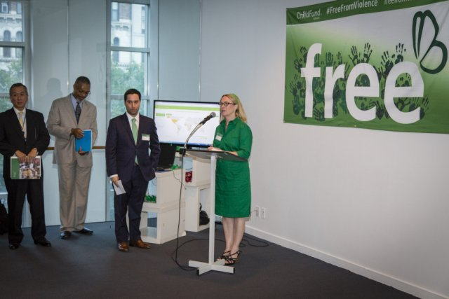 ChildFund Alliance Secretary General Meg Gardinier addresses the audience at the launch of our Data Visualation site