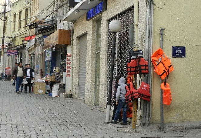 Lifejackets on sale in Izmir, Turkey for those feeling to Greece