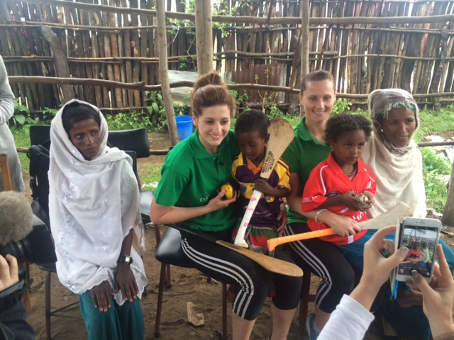 Aoife & Mags with sponsor children and their carers, Ropi, Siraro District, Ethiopia