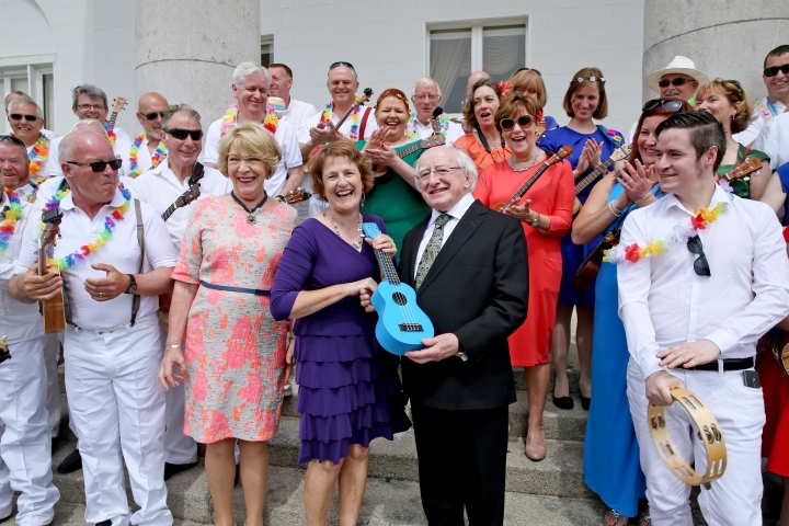 President Higgins and his wife Sabina with performances who participated in the SDG garden party