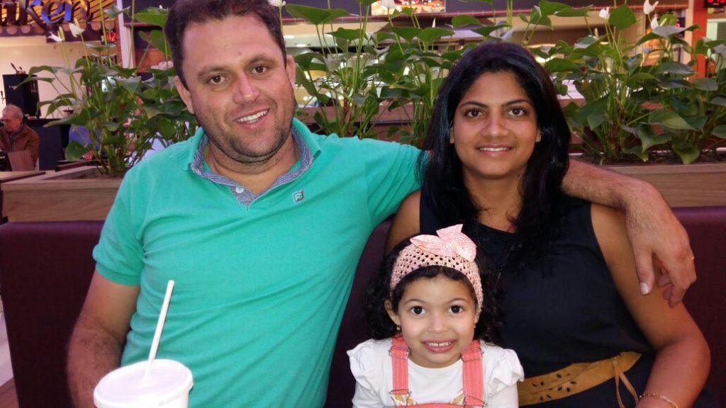 Lidiane from Brazil with her husband, Marcelo, and 4-year-old daughter Emily.