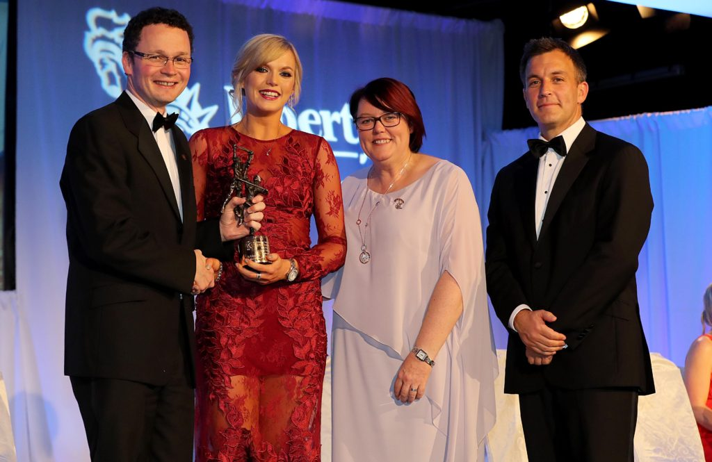 REPRO FREE***PRESS RELEASE NO REPRODUCTION FEE*** 2016 Camogie All-Stars Awards In Association With Liberty Insurance, Citywest Hotel, Co. Dublin 5/11/2016 Sarah Dervan, Galway with Camogie President Catherine Neary, Alan Johnston of Liberty Insurance and Minister for Sport and Tourism Patrick O'Donovan TD Mandatory Credit ©INPHO/Ryan Byrne